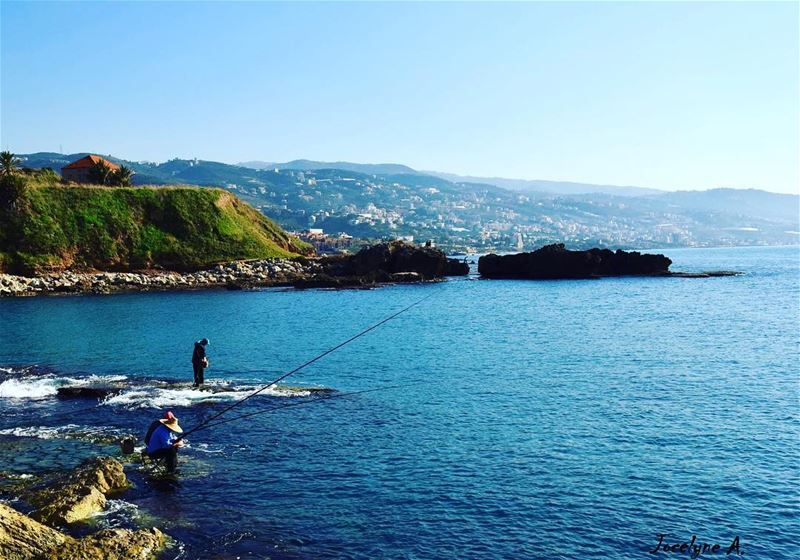 """ Be patient good things take time "" mylebanon beautiful beach blue ... (Byblos - Jbeil)"