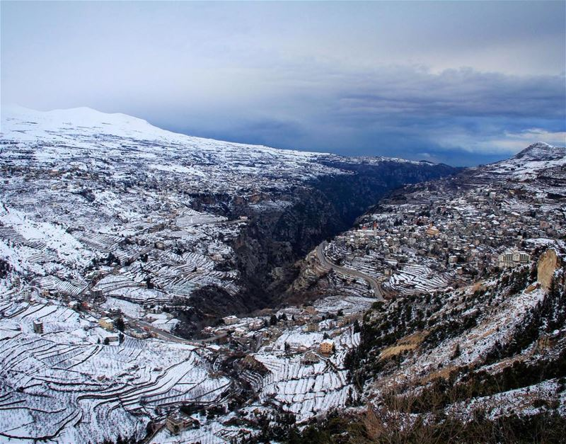 A miracle happened between the mountains.⚡️ miracle mountains snow ... (Bsharri, Lebanon)