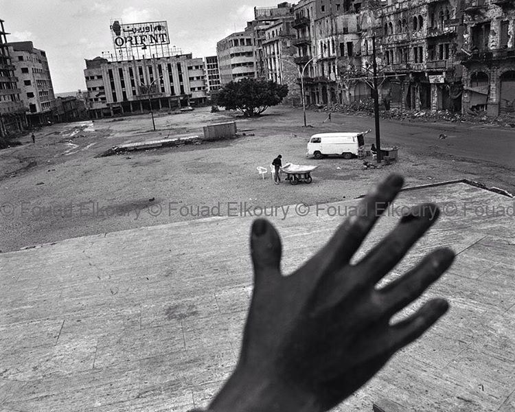 """The Hand"" Beirut Martyrs Square 1991 ."