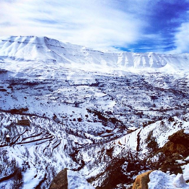 Snow Arez Cedars Lebanon Sky Mountains (Cedars of God)