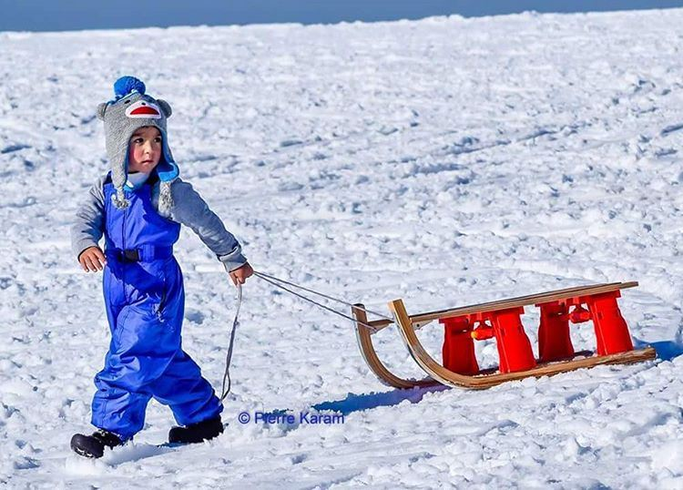 this cute kid is very serious about going to play snow sleigh... (Tanourine)