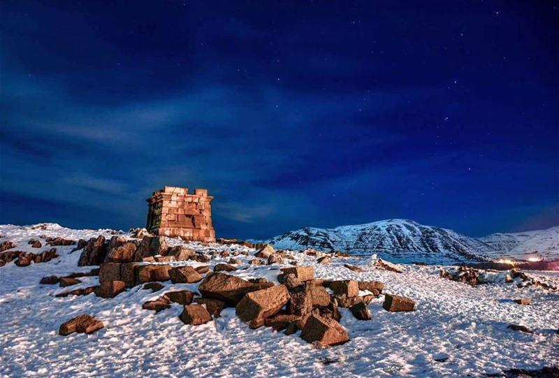 lebanon mountlebanon faqra snowlandscape faqraruins nightphoto ...