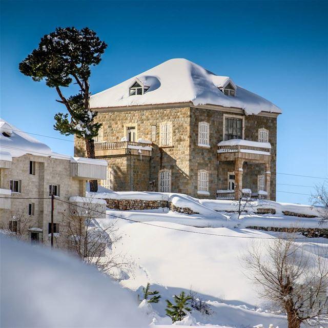 Lebanon Bcharre Snow Winter Mountain House Sky Nature White ...