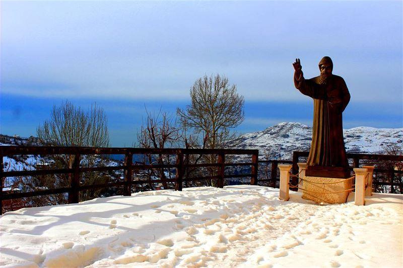 lebanoninapicture lebanon lebanonshots winter bekaakafra ... (St. Charbel Baakafra)