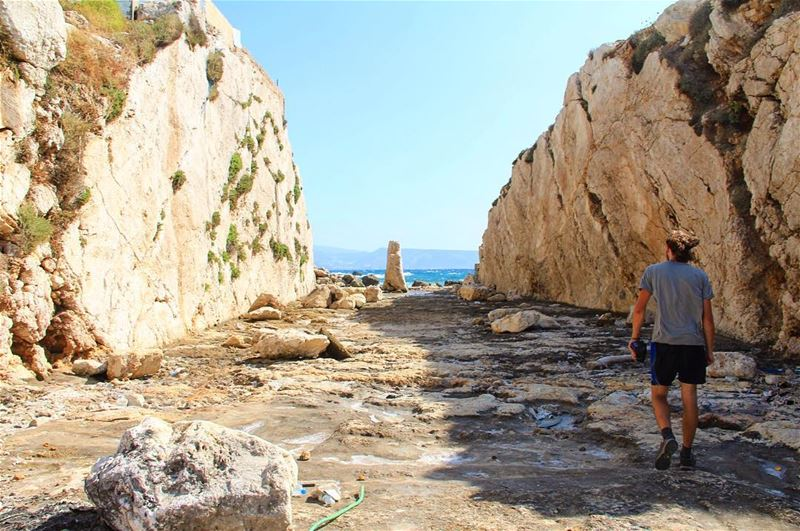 Men walk pavements of miracles, steps stopped counting. walk man sea ... (Anfeh, Lebanon)