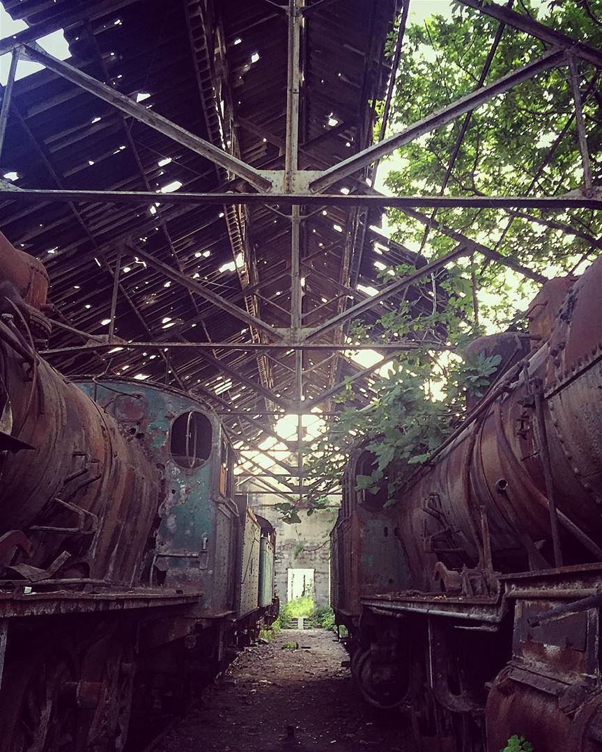 Lost time direction in a train station. abandoned train station old ... (Tripoli, Lebanon)