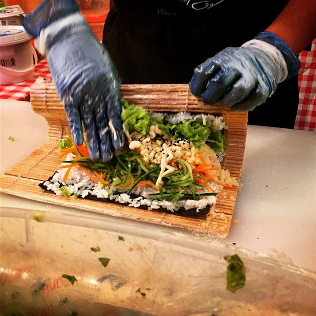 The sushisandwich sushi sandwich ichiban crazy maki salmon seafood... (Byblos, Lebanon)