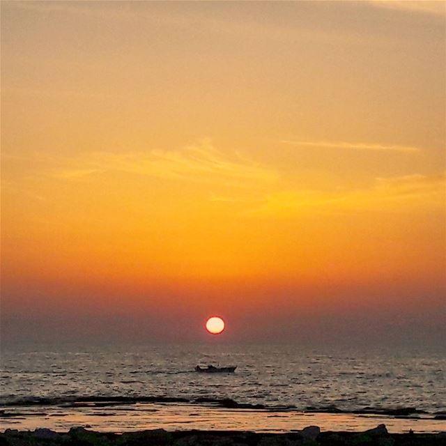 Keep calm and enjoy every sunset ⛵⛵⛵ Mediterranean Sea Sunset Sky ... (El-Mina, Tripoli)