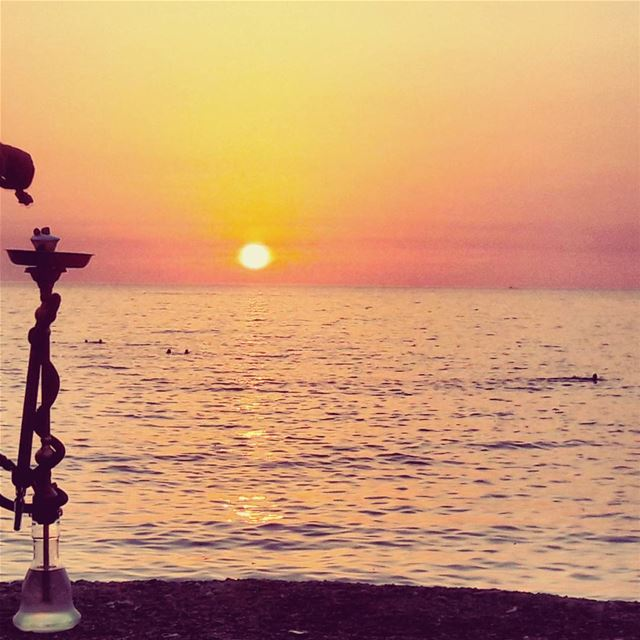 Have a sweet night peeps! Mediterranean Sea Sunset People arguile ... (Tripoli, Lebanon)