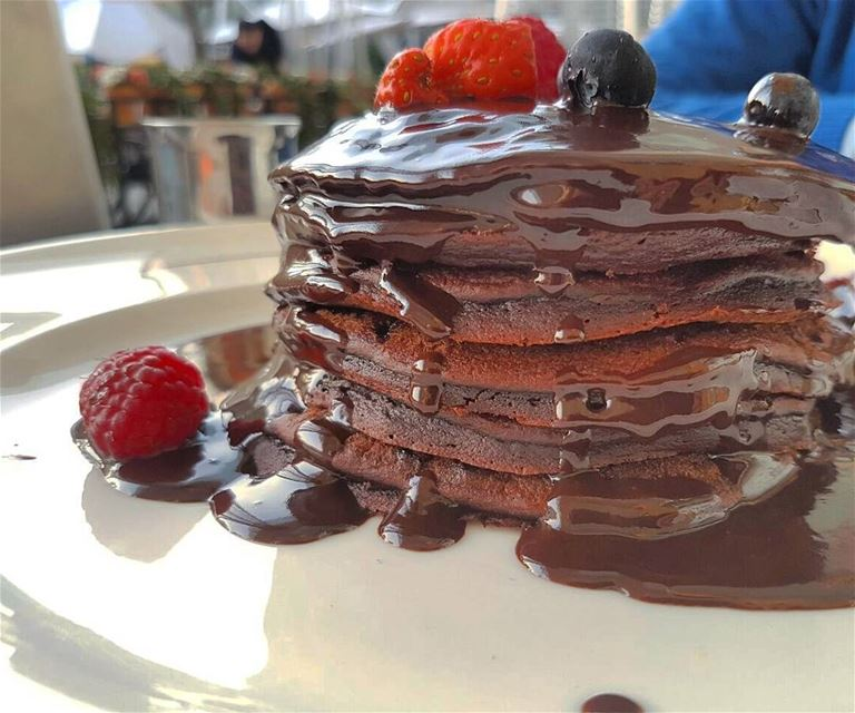 One of the finest pancakes ever: the chocolate tower 😍 IAm a ... (Roadster Diner - City Center Beirut)