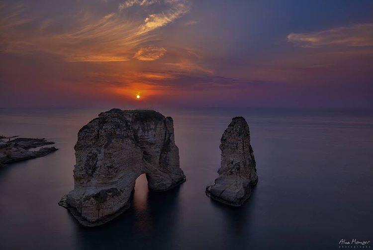 rawchi sunset lebanon lebanese pingeon rock clouds orange blue ... (Al Rawchi, Beirut)