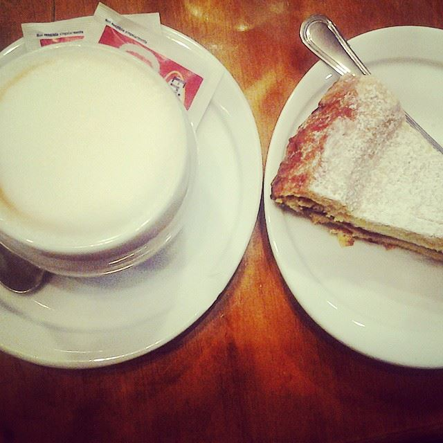 Best dinner during cold nights: hot cappuccino & ricotta cheese cake!...