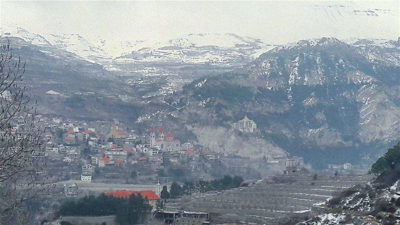 Bsharri crowned by the white snow ❄❄❄ Lebanon Lebanese Bsharri ... (Bsharri, Lebanon)
