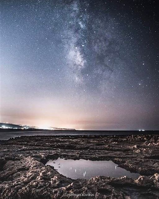 Dreaming? So yesterday ✨.. nightphotography milkyway sea seascape ... (Palm Islands- El Mina Lebanon)