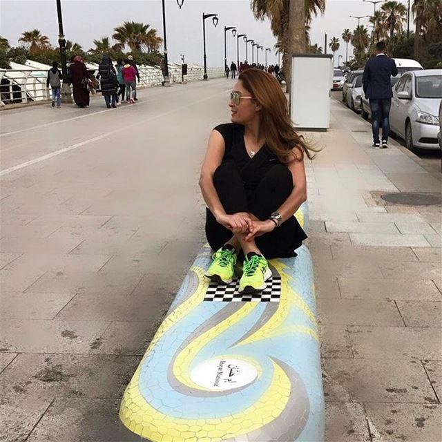 Good morning Beirut 🌦🏃🏽♀️ benches mosaic beirut ainmreisseh raouche ... (Corniche Ain El Mrayseh)