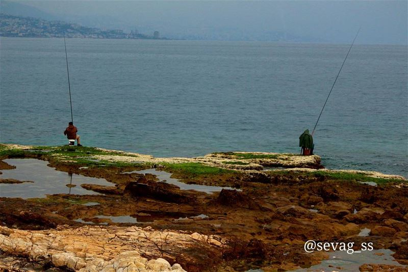 fisherman fishing beach sea seaside waves hunting blue blueocean ... (Amchit)