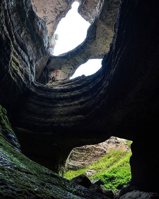 """Looking up from the deepest point of the """"cave of the bridges"""" 250m deep. @ (Tannourine, Liban-Nord, Lebanon)"""