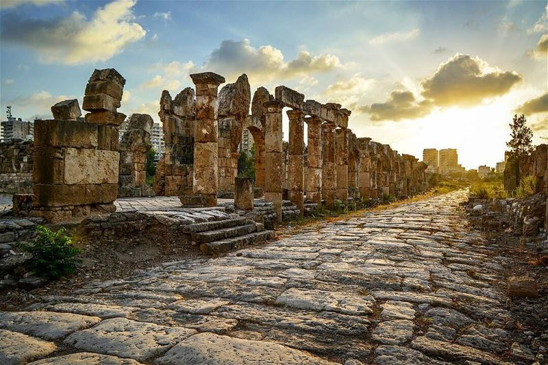 .The golden hour. Sunset at the roman ruins of Tyre, Lebanon. Good... (Tyre, Lebanon)