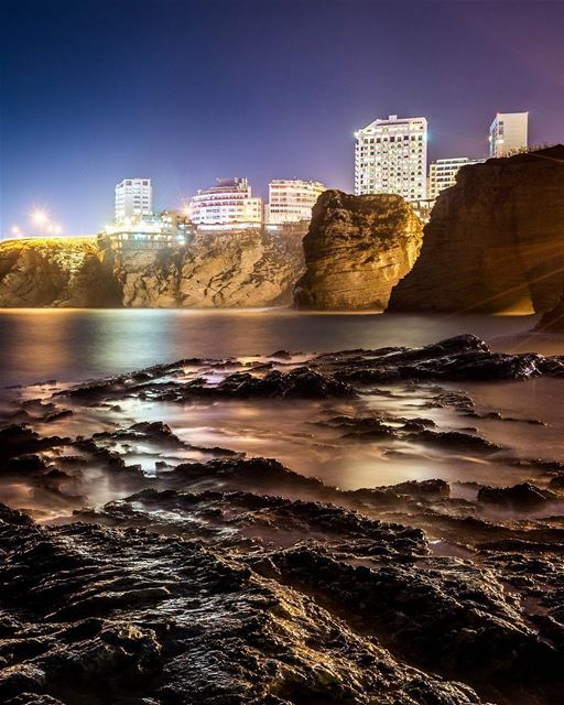 ".Beirut's rocky coast. Good evening dear friends! 80"" Long exposure -... (Beirut, Lebanon)"