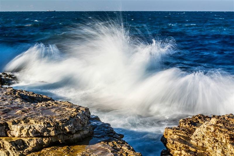 .SPLAASHHH !! 🌊🌊🌊🌊😉. GOOD Evening dear friends. The cold weather and... (Beirut, Lebanon)