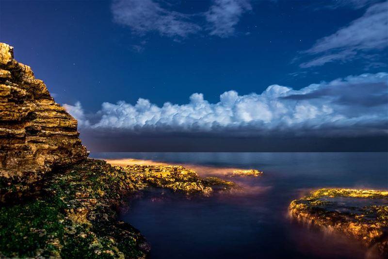 .Good evening dear friends. Amazing rocky sea and clouds, Manara,Beirut.... (كورنيش المنارة)