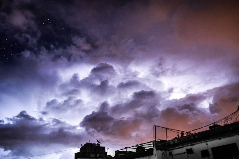 .Good morning dear friends ⚡⚡☁. Glowing thunderstorm cloud and starry... (Home Sweet Home)