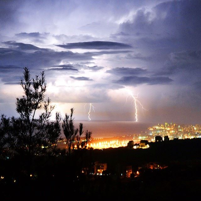 Thunderstorm, pine forest, Beirut and the airport as seen from bchamoun...