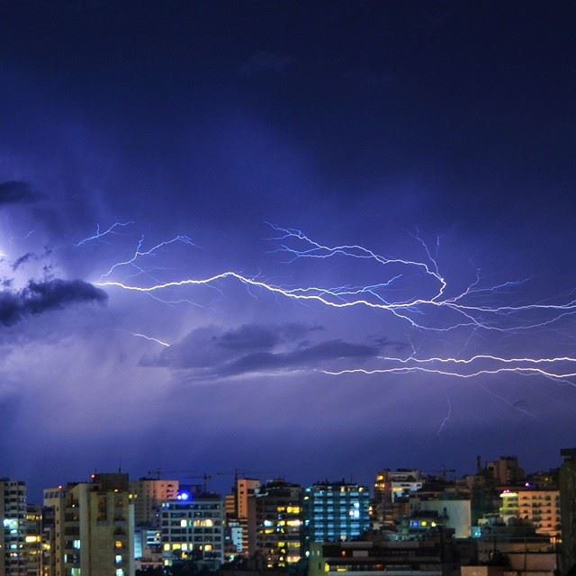 Severe thunderstorm today over beirut !!Shot taken by me !Camera : nikon...