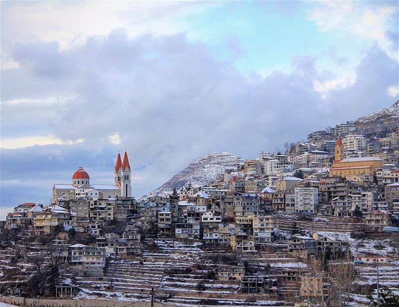 The snow is landing on a lego village. awesomeearth nakedplanet ... (Bsharri, Lebanon)
