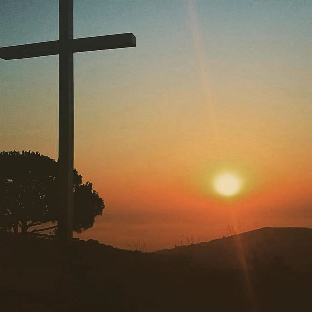 عيد الصليب... hope loveismyreligion sunset cross religions ... (Snâya, Al Janub, Lebanon)