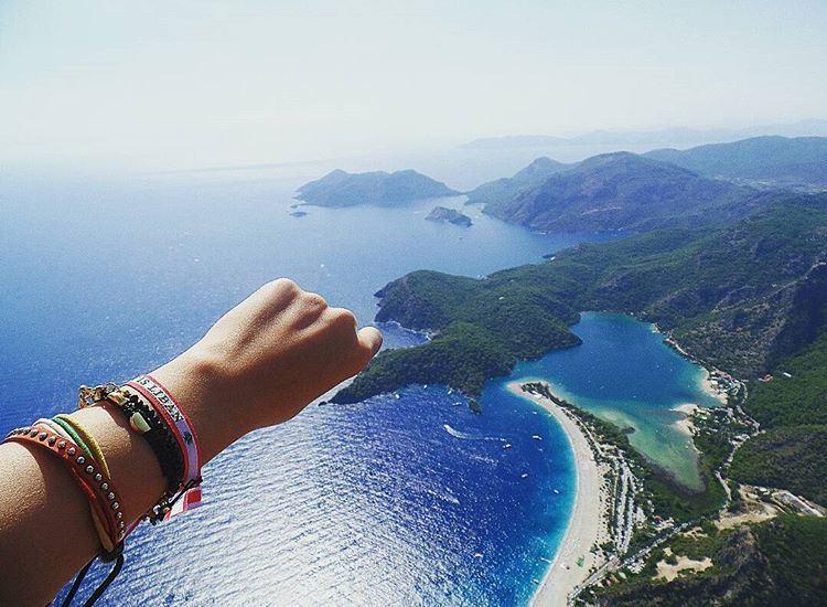 From Oludeniz Sky (1964 meter) Live Love Lebanon 🇱🇧 🔴🌲🔴 paragliding ... (Blue Lagoon Oludeniz Turkey)