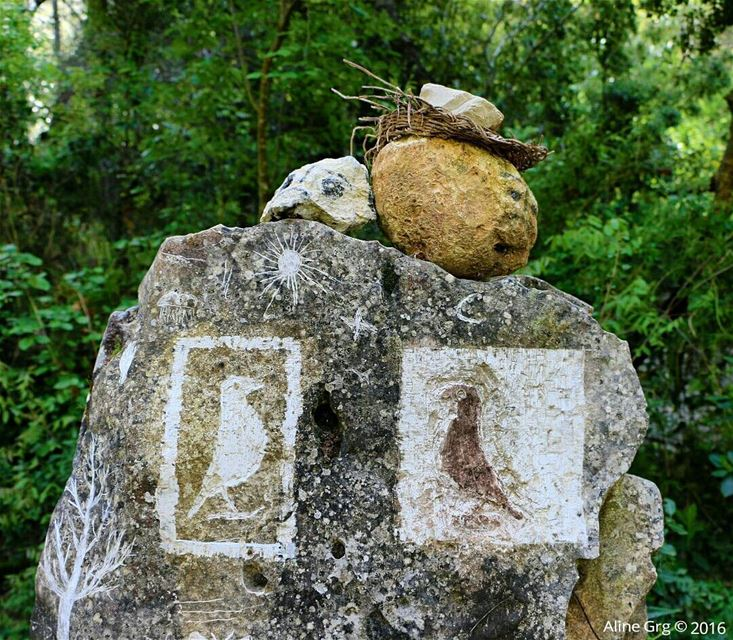Stone signs in Baakline Reserve 📍 tb hiking stonesigns baakline ... (Baakline, Mont-Liban, Lebanon)