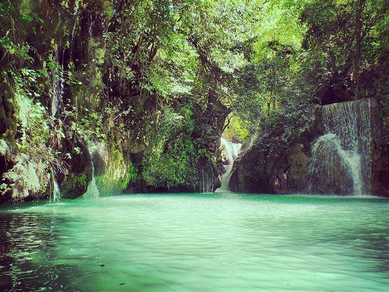 Paradise 💚💙 live hiking hikinggirl spring nature natureholic ... (شلالات الزرقاء -بعقلين)