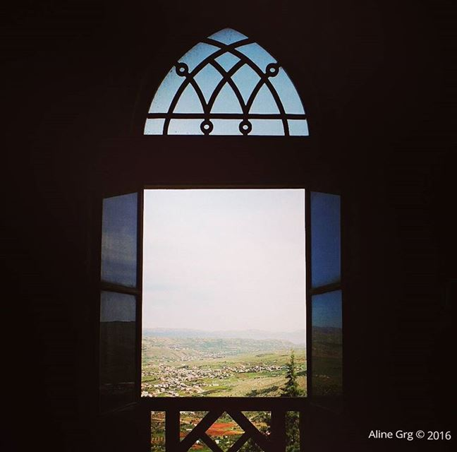 "View of ""Bekaa valley"" through the window 🔭 bekaavalley rachayacastel ... (Rachaya Castel)"
