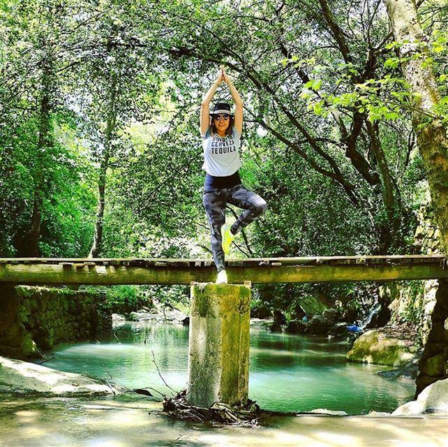 Nature ❤ hikinggirl hiking baakline chouf onthewater enjoylife ... (شلالات الزرقاء -بعقلين)