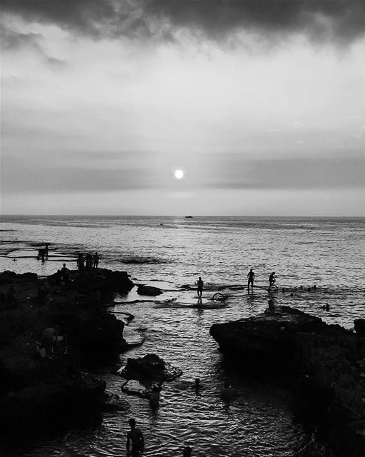 Some Workout Some Swim @ Ein Mraysseh ocean sea blackandwhite sunset ... (Manara Beirut)