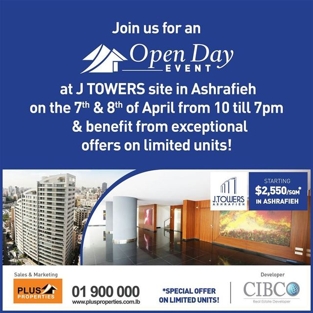 Plus Properties team will be present on Site of J Towers project in... (Achrafieh, Lebanon)