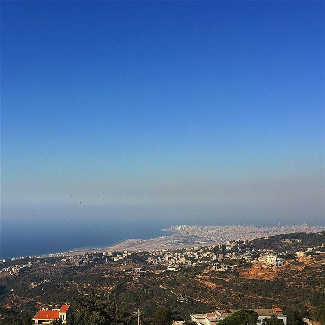 sea mediterranean mountains bluesky lebanon beirut wanderlust ... (Beirut, Lebanon)