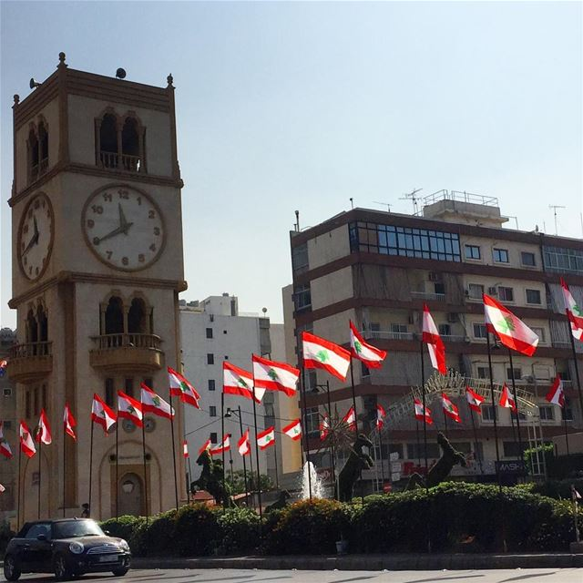 whatsuplebanon flags clocktower lebanon instalebanon livelovelebanon... (Jal El Deeb)