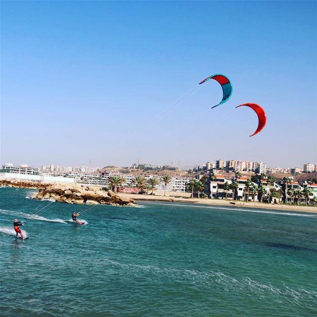 Heading back to shore tripoli marina kitesurfing kitesurf lebanon ...
