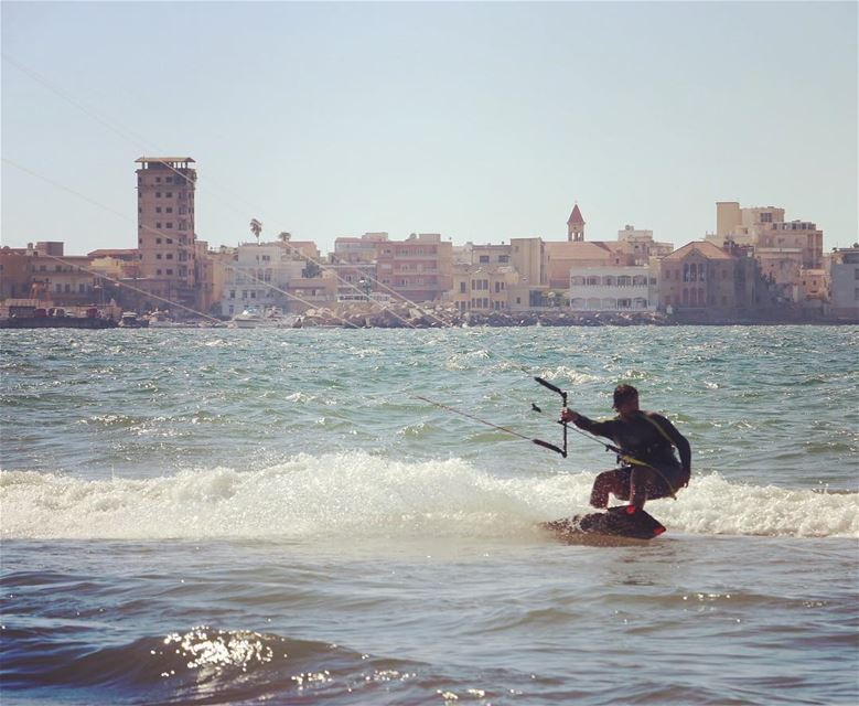 What a day at Tyr's beautiful beach lebanonkiteboarding lebanon tyr ... (Tyre, Lebanon)
