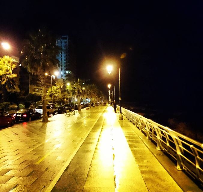 Beirut Lebanon at night rain rainy weather water front corniche ... (Beirut Waterfront)