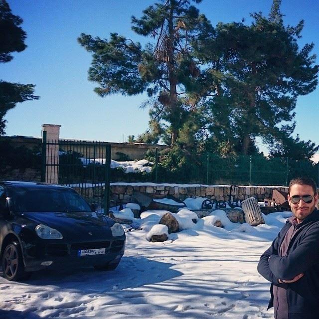 Snow winter fun cars Porsche Cayenne me byme lebanon Beirut ... (Baalbek Temple)