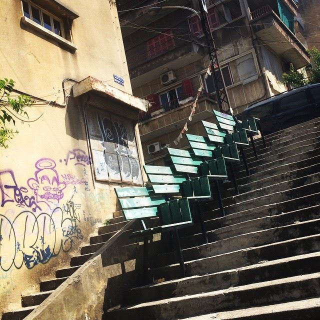 When you are  Walking down in  Achrafieh and you get tired, those  Seats... (Mar Mikhael-Armenia The Street)