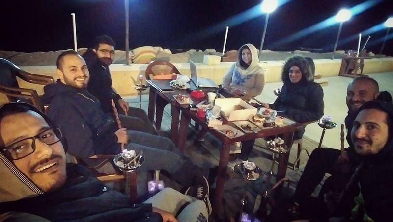 Winter nights _ ghazieh beach friends selfie fun ghazieh southlebanon... (كورنيش الغازية)
