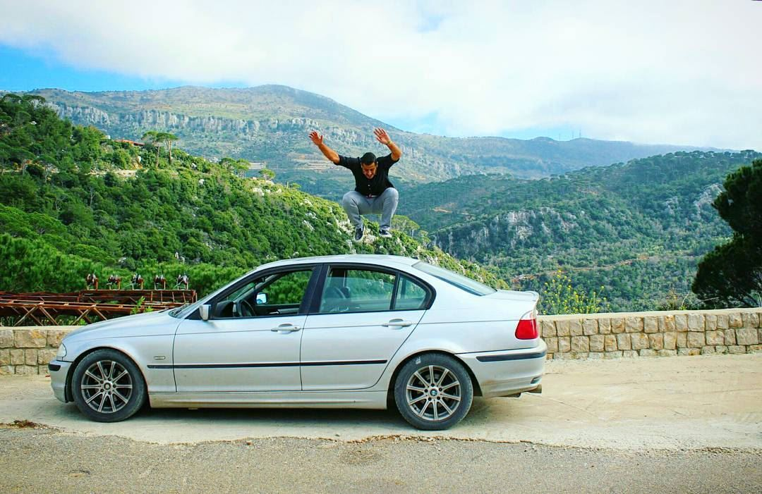 trying to fly flying jump car me crazy fun car bmw ... (Jezzîne, Al Janub, Lebanon)