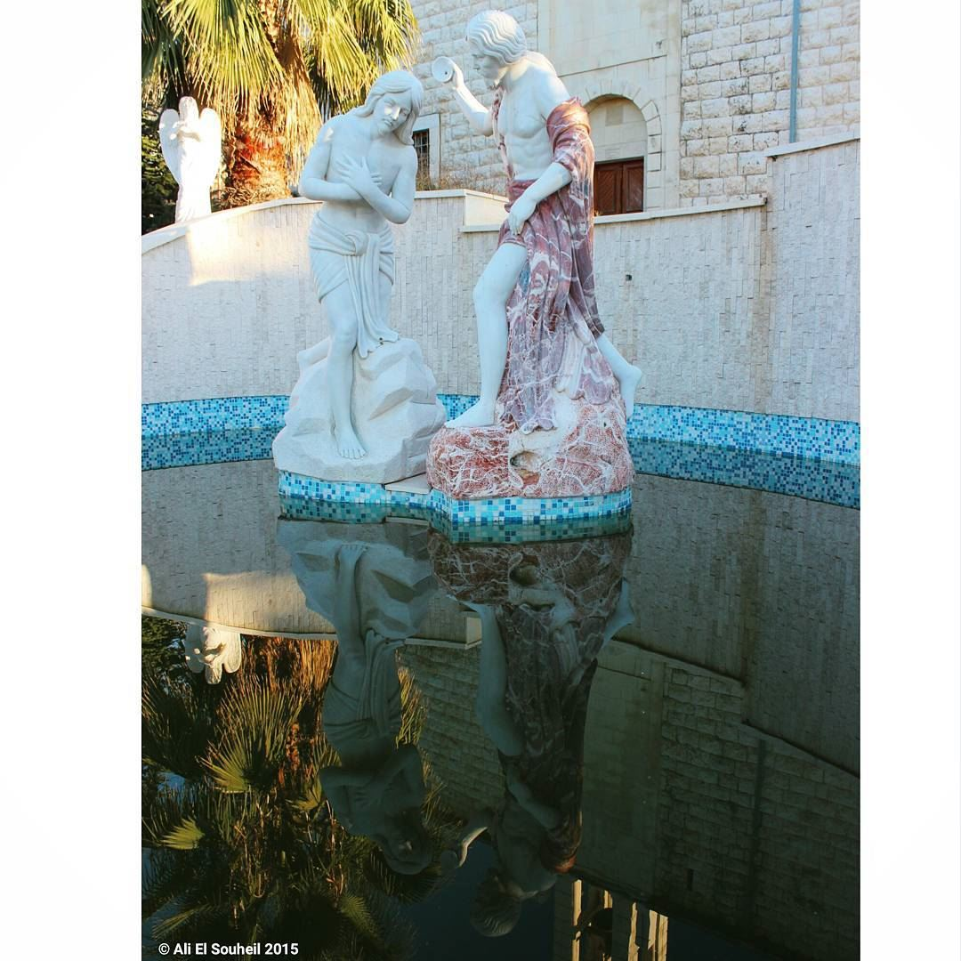 tb statue water reflection pool church ... (Mar Semaan)