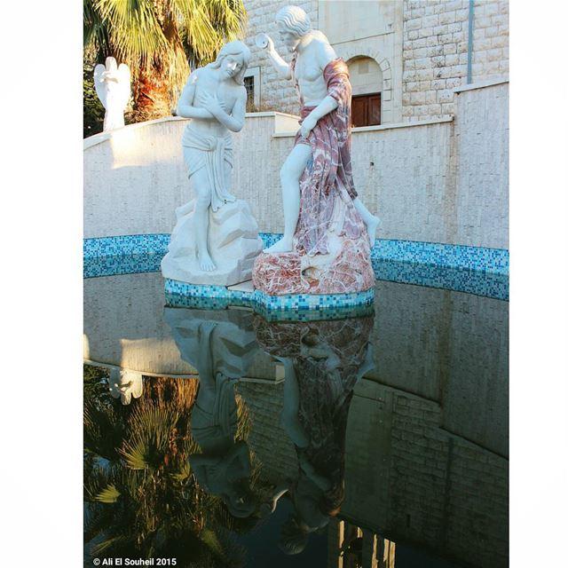 tb statue water reflection pool church ... (Mar Semaan)