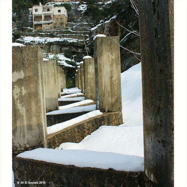 The amazing jezzine jezzine snow perspective winter lines ... (Jezzîne, Al Janub, Lebanon)