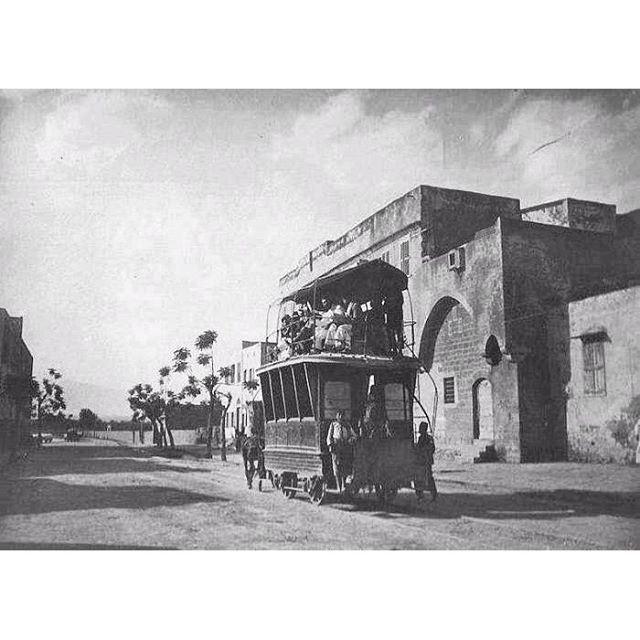 TramwayTripoli Wagon pulled by Horses - Tripoli 1921 .